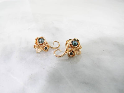 Yellow Gold Black Pearl Earrings, Black Diamond, Rosebud, Vine