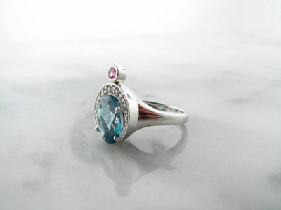 Quartz Pink White Sapphire Silver Ring, Ocean Queen Blue