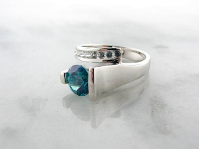 Green Blue Topaz White Sapphire Silver Ring, Caribbean Blue