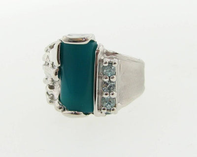 Chrysocolla Blue Zircon Silver Ring, Melted Pierced
