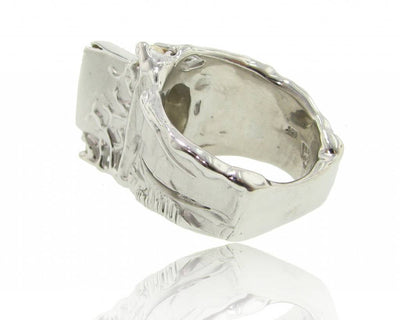 Citrine Pearl Silver Ring, Cinderella's Staircase