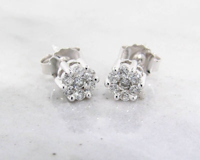Diamond White Gold Earrings, Cluster, 1/4ct