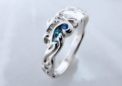Blue Topaz Michigan Silver Ring, Topaz Waters