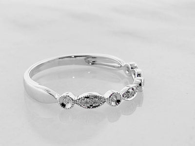 White Gold Diamond Milgrain Diamond Stacking Ring, Tempo