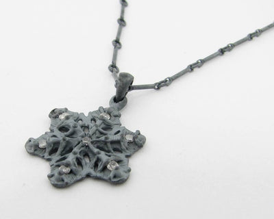 Diamond Blackened Silver Snowflake Necklace, Traverse City