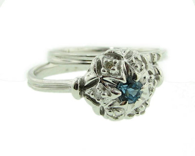 Diamond Blue Topaz White Gold Wedding Ring Set, Bisnonna