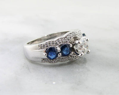 Diamond Sapphire White Gold Engagement Ring