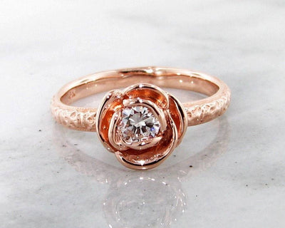 Rose Gold Diamond Ring, Stacking Solitaire Rose