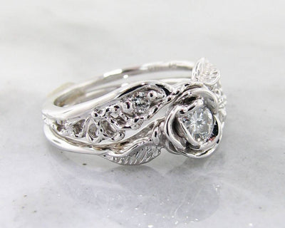 Diamond White Gold Wedding Ring Set, Lacy Tea Rose