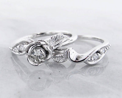 Diamond White Gold Wedding Ring Set, Prize Tea Rose