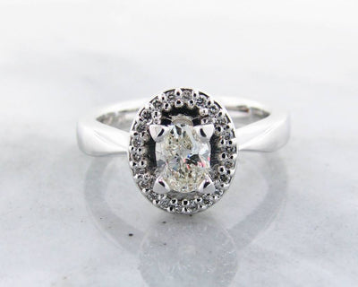 Oval Diamond White Gold Halo Ring, Wexford Standard