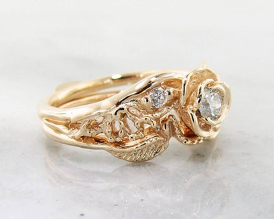 Diamond Yellow Gold Wedding Set, Lacy Tea Rose