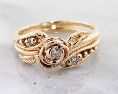 Diamond Yellow Gold Wedding Ring Set, Tea Rose