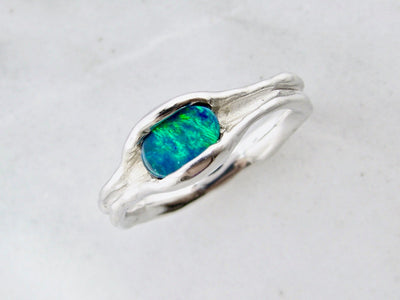 large-horizontal-opal-silver-melted-ring-wexford-jewelers