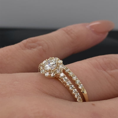 1.00CT TDW 14K Yellow Gold Round Halo Wedding Set