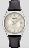 SEIKO Men's Patterned Antique White Dial Leather Watch
