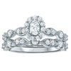 1.00ct TDW 14K WG Oval Halo Vintage Inspired Wedding Set