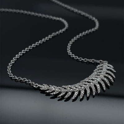 .35ct Diamond 18k White Gold Shimmering Feather Necklace