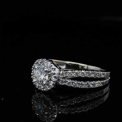 1.10ctw Perfect Diamond Halo 14k White Gold Split Shank