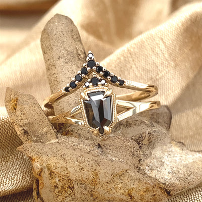 Rough Rose Cut Shield Diamond and Spinel Empire Wedding set in Black and Gold
