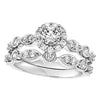 1.00ct TDW 14K WG Round Halo Vintage Inspired Wedding Set