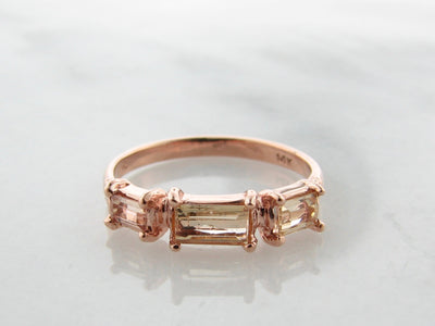 Rose Gold Imperial Topaz Ring, Peach Perfection