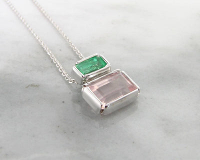 Emerald Kunzite Silver Necklace, Boho Blush Empire