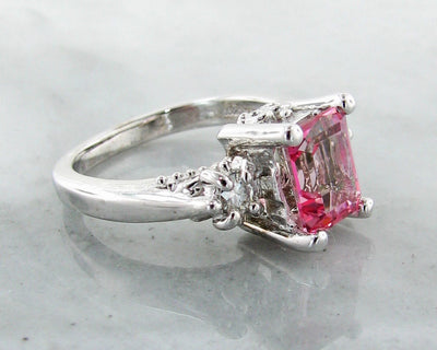 Pink Topaz Moissanite Silver Ring, Old Paris