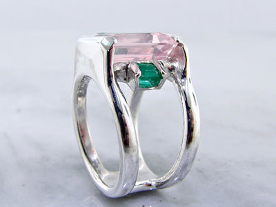 silver-split-ring-emerald-cut-pink-gemstone-wexford-jewelers