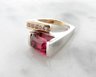 Pink Tourmaline Diamond White Yellow Gold Ring, Vitality