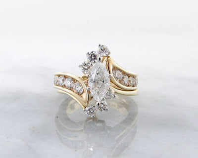 Yellow Gold Diamond Wedding Ring Set, Fitted, Marquise