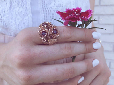 Rhodolite Garnet Rose Gold Ring, Blossoming Roses