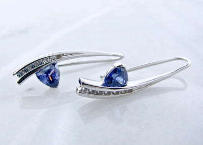 curved-earrings-french-hook-white-sapphire-colored-gemstone-wexford-jewelers