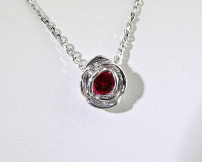 july-birthstone-silver-ruby-rose-shaped-necklace-wexford-jewelers