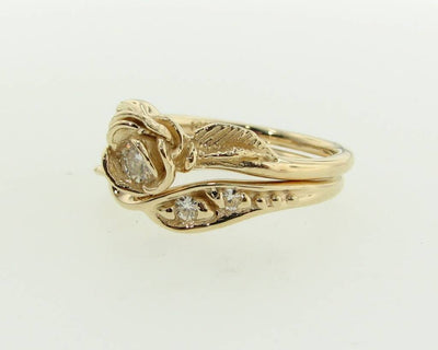 Yellow Gold Moissanite Wedding Ring Set, Prize Tea Rose