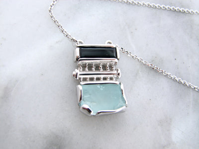raw-aquamarine-tourmaline-silver-necklace-wexford-jewelers