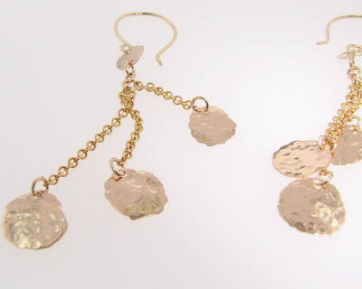 Yellow Gold 14K Hammered Cascade Earrings