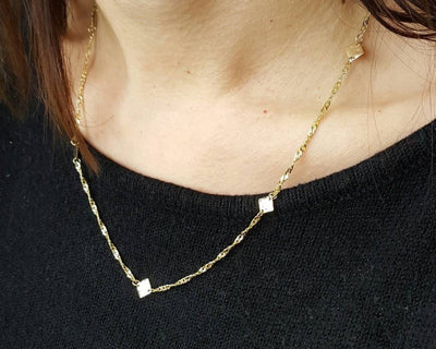 Yellow Gold Necklace, Hammered Stations