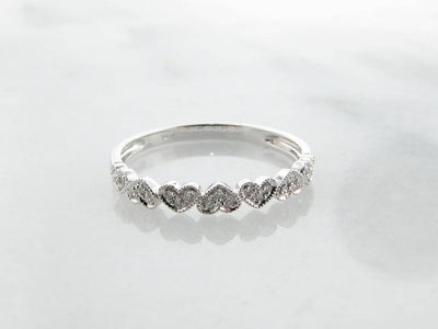 White Gold Diamond Stacking Ring, Hearts Aflutter