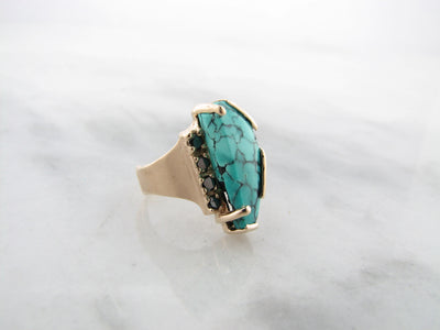 turquoise-yellow-gold-black-diamond-ring-wexford-jewelers
