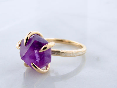 Raw Amethyst Yellow Gold Ring, Glacier