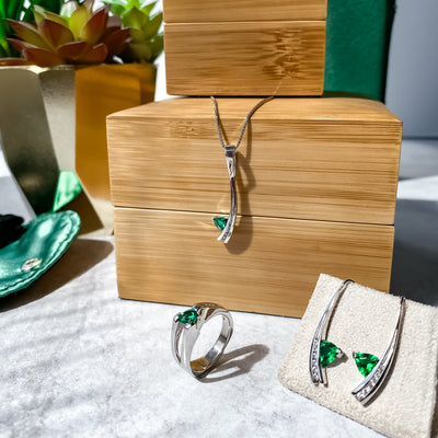 silver-may-birthstone-lab-emerald-earrings-wexford-jewelers
