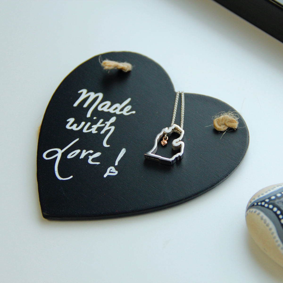 Silver Rose Gold Michigan Necklace, Mitten Love