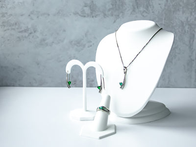 emerald trillion set of earrings, necklace & ring