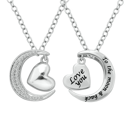 Silver .12 Ctw Diamond Heart and Moon Pendant