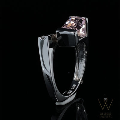 Pink Sky Sunset Quartz Bypass Silver Ring