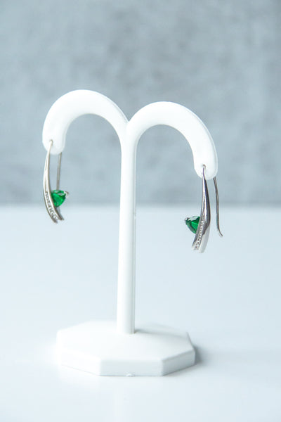 French-hook-silver-emerald-earrings-wexford-jewelers