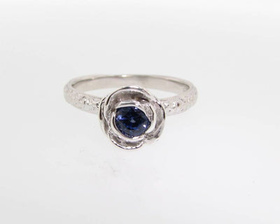 Silver Tanzanite Stacking Rose Ring