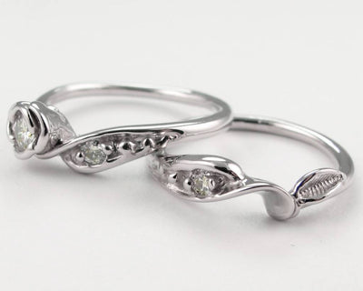Tea Rose Wedding Set - White Gold and Diamond