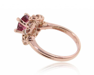 Pink Tourmaline Rose Gold Ring, Wreath